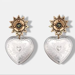 Antique Silver & Gold Heart Drop Earrings